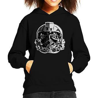 Opprinnelige Stormtrooper Imperial TIE Pilot hjelm monokrom effekt barneklubb Hettegenser