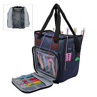 Portable Yarn Tote Storage Bag for Wool Crochet Hooks Knitting Needles Sewing Supplies Set - DIY Household Organizer Bag