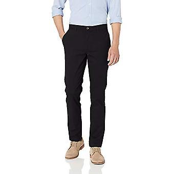 Essentials Men&s Skinny-Fit Casual Stretch Khaki Spodnie, Czarny, 36W x 32L
