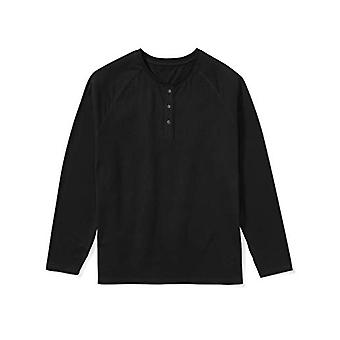 Essentials Men & apos&s Big & Tall طويل الأكمام قميص هنلي قميص, -أسود, 4XL