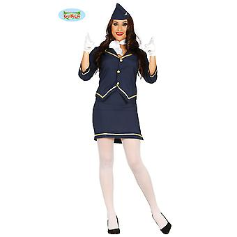 Seksikäs lentoemäntä upseeri puku hyvät Carnival Carnival ilmailun sininen