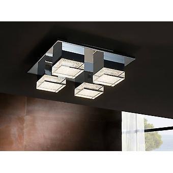 Integrated LED 4 Light Flush Ceiling Light Chrome