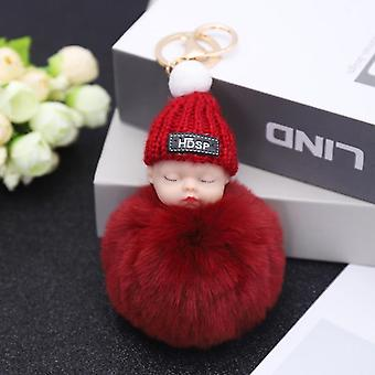 Cute Plush Pendant Winter Sleep Cute Doll Keychain- Cartoon Plush Hair Ball Doll Bag Pendant Small Gift