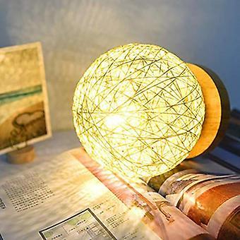 Abajur de malha manual com luzes noturnas de mesa usb estilo base de madeira