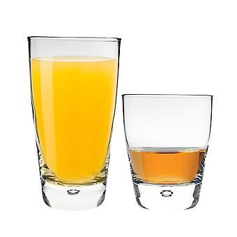 Bormioli Rocco Luna Whisky Becher und Highball Cocktail Gläser Set mit Bubble Base - 12pc Set
