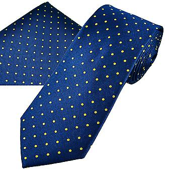 Ties Planet Gold Label Royal Blue & Yellow Polka Dot Men's Silk Tie & Pocket Square Handkerchief Set