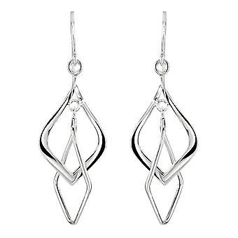 Dew Sterling Silver Double Dangle Drop Earrings 61002HP028