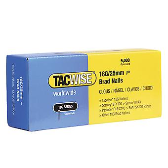 Tacwise 18 Gauge 25mm Brad Nails Pack of 5000 TAC0396