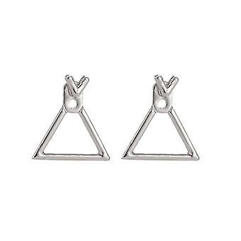 Srebrne geometryczne kolczyki z trójkątem