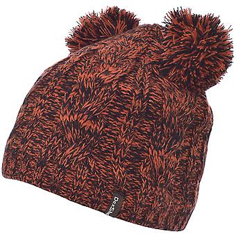 DexShell Childrens Youth Cable Knit Twin Pom Pom Winter Beanie Hat - Tango Red
