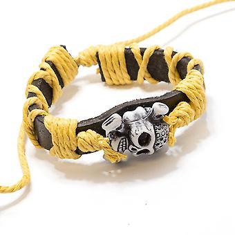Lederarmband weiß Schädel Männer Mode verstellbare Armband echt
