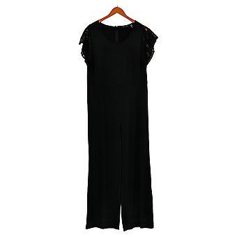 H door Halston Jumpsuits Jersey Wide-Leg Lace Sleeves Zwart A354286