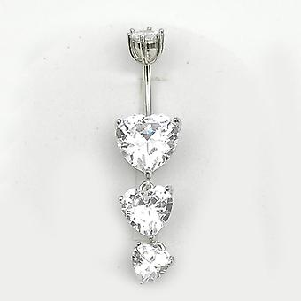 Sterling Silver Belly Button Ring Heart, Cubic Zircon Navel Piercing Jewelry
