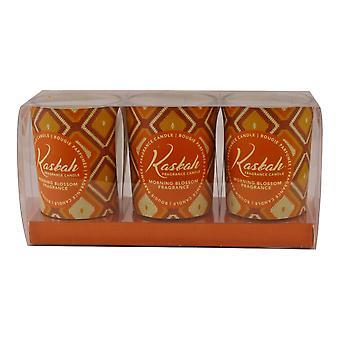 Set Of 3 Kasbah Votive Candles In Jars, Morning Blossom Fragrance