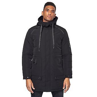 Men Padded Winter Parka Long Hooded Jacket Windproof Adjustable Waist Reg Fit
