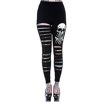 Banned Slashed Skull Leggings XXL