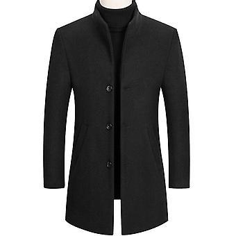 Zimné 30% vlna Muži hrubé kabáty Slim Fit Stojan golier Muž Outwear Bundy