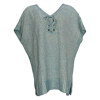 Isaac Mizrahi Live! Women's Sweater Lace-up Poncho Blue A303206