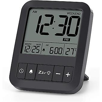 LIORQUE Digital Alarm Clock Battery Powered, Small Travel Alarm Clock