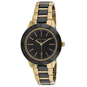 Anne Klein Women's Swarvoski Crystal Black Dial Watch - AK-3160BKGB
