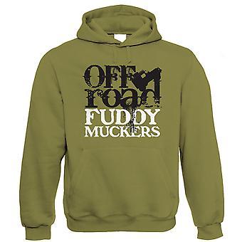 Fuddy Muckers Mens Off Road Hoodie, 4X4 Green Laning Rock Crawler