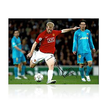 Paul Scholes Signed Manchester United Photo: Barcelona Goal