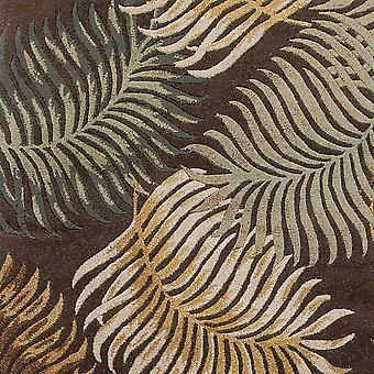 3'x4' Espresso Brown Hand Tufted Tropical Leaves Indoor Area Rug