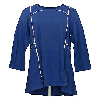 LOGOTIPO Por Lori Goldstein Women's Top Crochet Trim Details Blue A349116