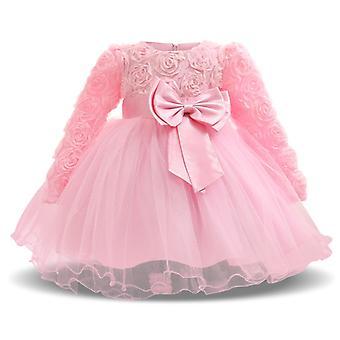 Baby Girls Flower Krst princezná šaty ružové 4-6 mesiacov