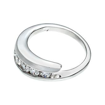 Channel Set Journey Band Handset Five Round Stones Ring