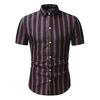 Swotgdoby Men's Striped Simple Versatile Short-sleeved Shirt
