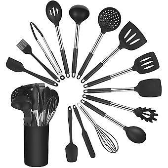 Vicloon Kitchen Utensil Set, 15 Pcs Silicone Utensils Set, Cooking Tools Including Brush, Spoon