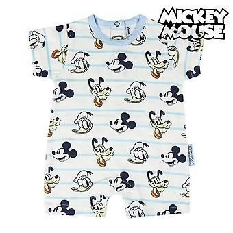 Baby's short-sleeved romper suit mickey mouse white