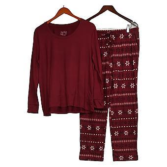 Nogen Kvinder ' s Petite Børstet Jersey Trykt Sleep Set Rød A387704