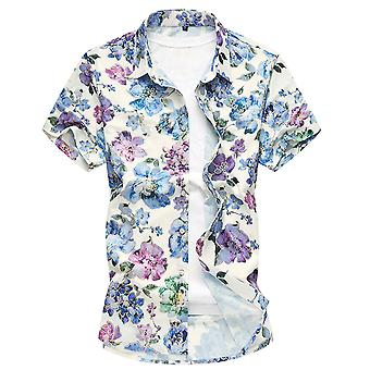 Yunyun Men's Short-sleeved Flower Print Vogue Button Shirt