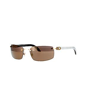 Cartier CT0046S 004 Gold-White/Brown-Gold Mirror Sunglasses