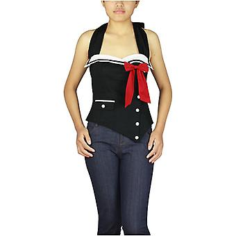 Chic Star Plus Size Pinup Sailor Corset Top In Black