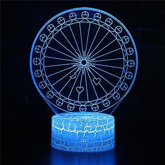 3D Optisk illusionslampa LED Night Light, 7 färger Touch Bedside Lamp Bedroom Table Art Deco Child Night Light med USB Cable Novelty Christmas Birthday Gift-#345