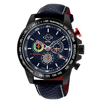 GV2 Men's Scuderia Blue Dial Blue Leather Chronograph Date Watch