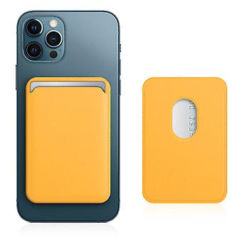 Magsafe Card Case for iPhone 12 Leather Covered Magnetic Fastening Yellow