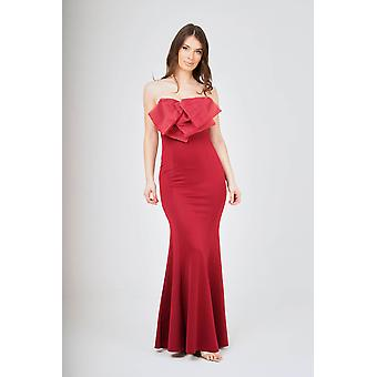 Wine off- shoulder bow-tie maxi dress