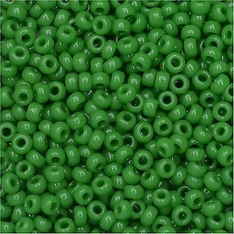 Miyuki Runde Samenperlen, 11/0, 8,5 Gramm Tube, #411 undurchsichtiges Jadegrün