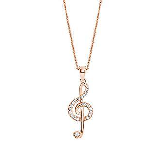 amor Halsband med kvinnohänge, i Sterling 925 silver, med nyckel av hjärtnoter
