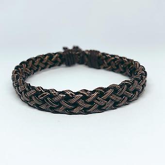 Bracelet tressé naturel fait à la main en cuir marron et ficelle