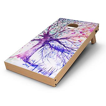 Abstract Colorful Watercolor Vivid Tree V2 Cornhole Board Skin Decal