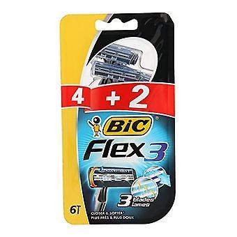 Manual shaving razor Bic Flex3 (6 uds)