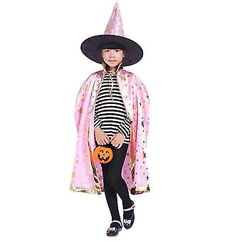 Wizard Cape Witch Cloak With Hat, Halloween Costume For Kids Cosplay Party(Pink)