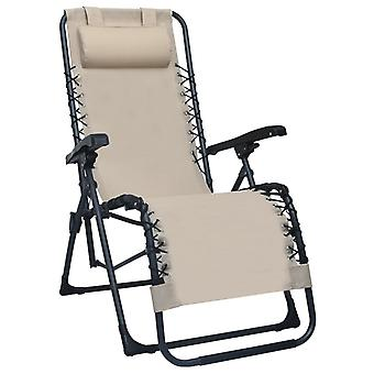vidaXL Folding Deck Chair Cream Textilene