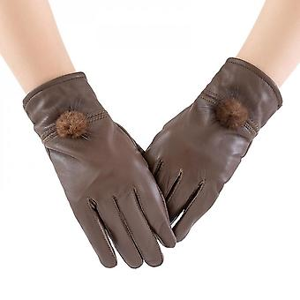 Mimigo Womens Winter Lambskin Leather Gloves 100% Natural Sheepskin Leather Soft Gloves For Lady With Mink Fur Pompom