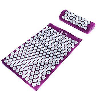 Acupoint Yoga Mat Acupressureog Pude Set Neck Ryg Fodmassageapparat